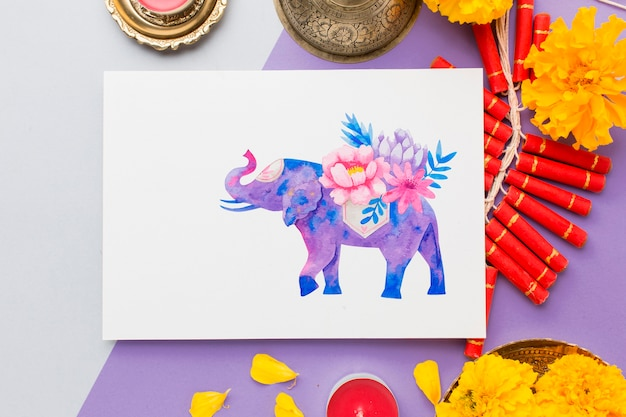 Mock-up diwali hindoe festival bloemen olifant