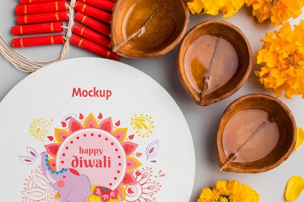 Mock-up diwali hindú festival flat lay