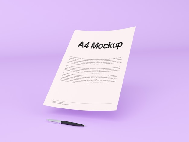 Mock up de documento sobre fondo morado