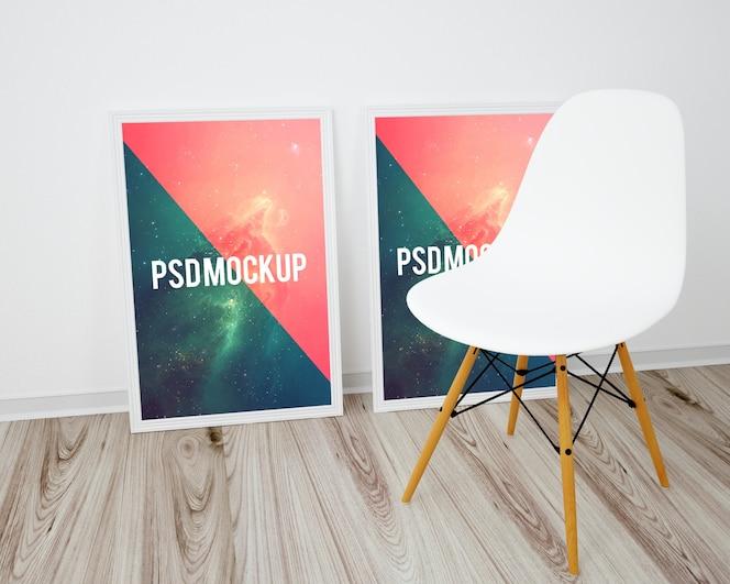 Mock up de dos marcos sobre suelo de madera y silla blanca