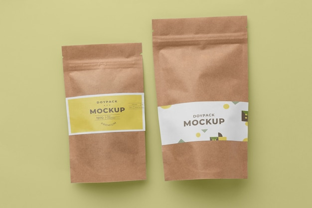 Mock-up doypack minimalistische compositie
