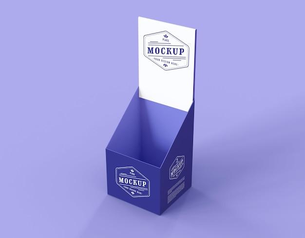 Mock-up espositore viola minimalista ad alto angolo