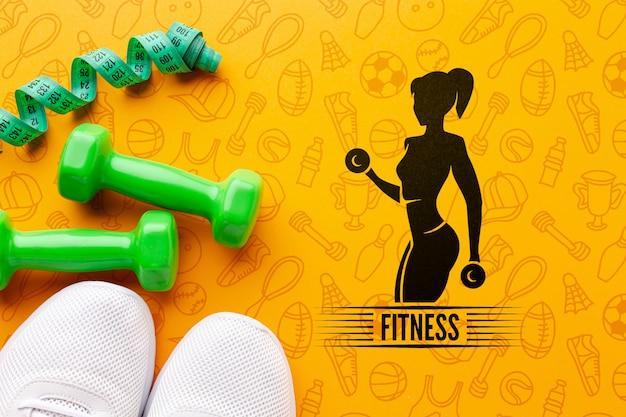 Mock-up fitnessapparatuur en schoenen