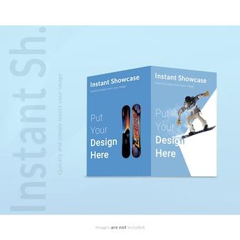 Mock up de folleto sobre fondo azul