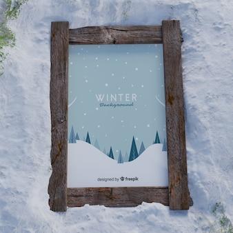 Mock-up frame met winterfoto