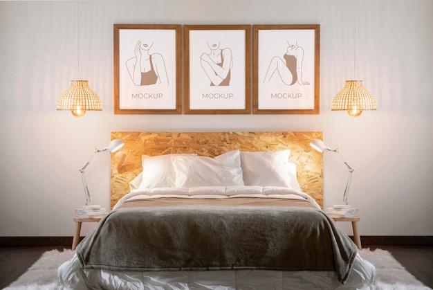 Mock-up frames opstelling in slaapkamer