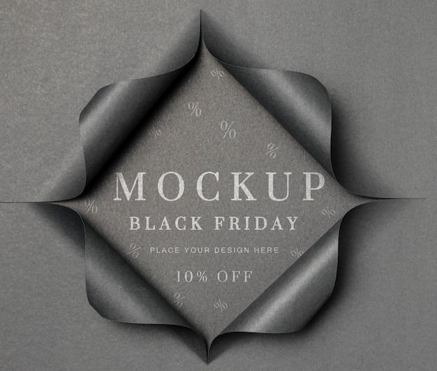 Mock-up grigio e carta strappata venerdì nero
