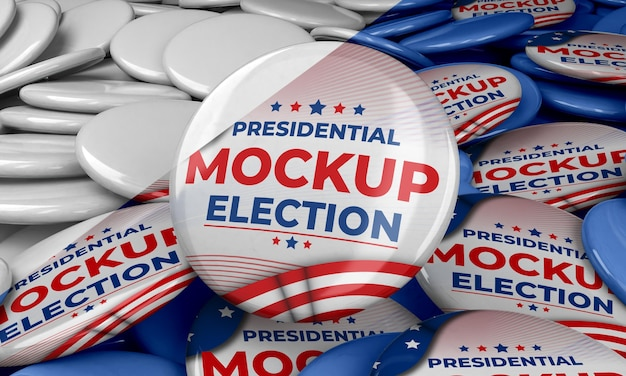 Mock-up insignes van de presidentsverkiezingen voor de verenigde staten