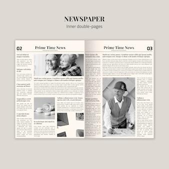 Mock-up interno di giornali a doppia pagina