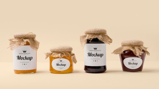 Mock-up jampotten verpakkingssamenstelling
