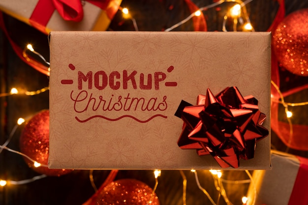 Mock-up kerstcadeau met rode strik