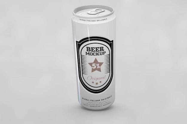Mock up de lata de cerveza brillante