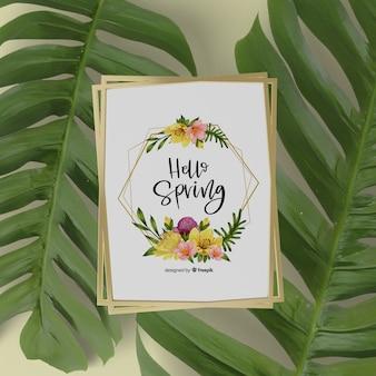 Mock-up lente kaart met 3d bladeren rond