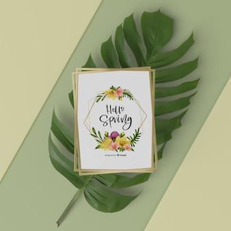 Mock-up lentekaart bovenop 3d blad