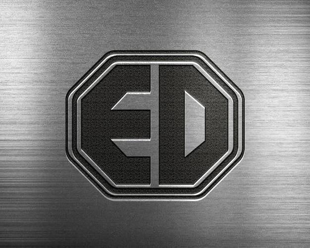 Mock up logo design op staal