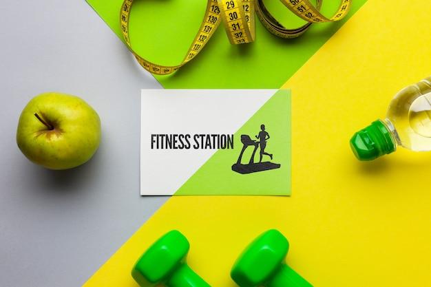 Mock-up met fitnessapparatuur