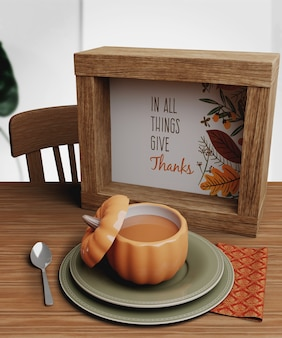 Mock-up met thanksgiving day-arrangementen