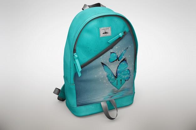 Mock up de mochila azul