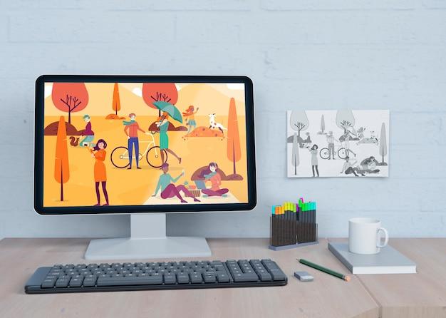 Mock-up monitor con disegni colorati