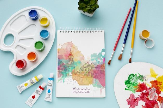 Mock-up notebook con acquerelli