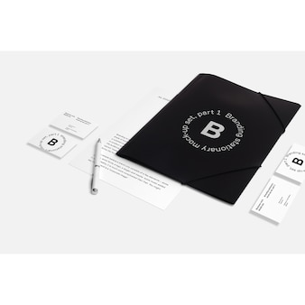 Mock up de papelería de negocios con carpeta negra