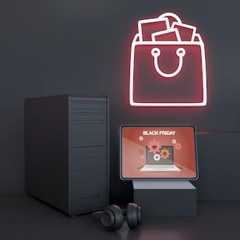Mock-up pc con luci al neon