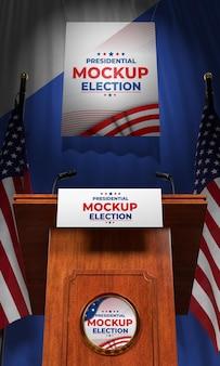 Mock-up podium voor presidentsverkiezingen voor de verenigde staten