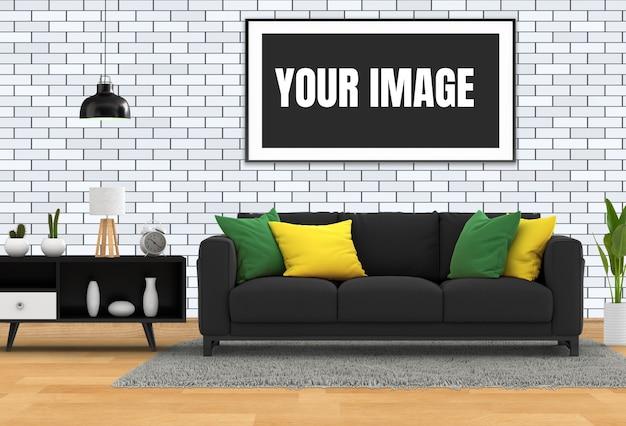 Mock up poster frame in hipster interni moderno soggiorno