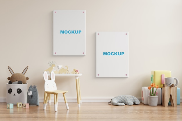 Mock up poster frame in kinderkamer 3d-rendering