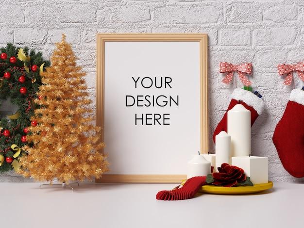 Mock up poster frame interior con decoración de navidad