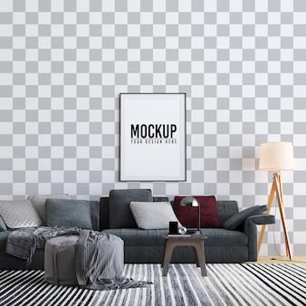 Mock up poster frame interior living room