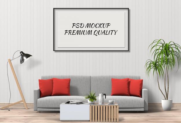 Mock up poster frame nel salotto interno e divano
