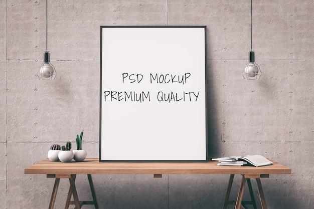 Mock up poster frame sul tavolo interno soggiorno. rendering 3d
