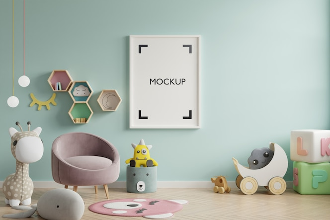 Mock up poster in de kinderkamer