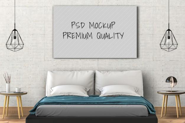 Mock up poster vuoto interno camera da letto. rendering 3d