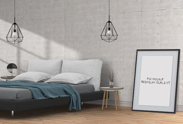 Mock up poster vuoto interno camera da letto
