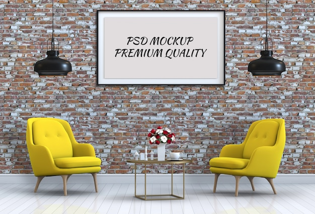 Mock up posterframe in interieur woonkamer en fauteuil