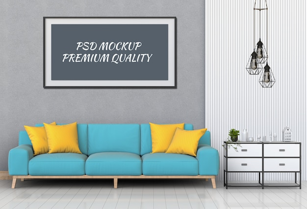 Mock up posterframe in interieur woonkamer en sofa