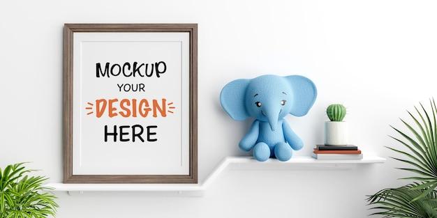 Mock-up posterframe met schattige olifantenpop voor een babyshower 3d-rendering