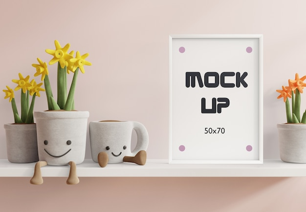 Mock up posters in kinderkamer interieur, posters op witte plank 3d-rendering