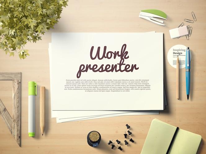 Mock up de presentación de trabajo sobre escritorio