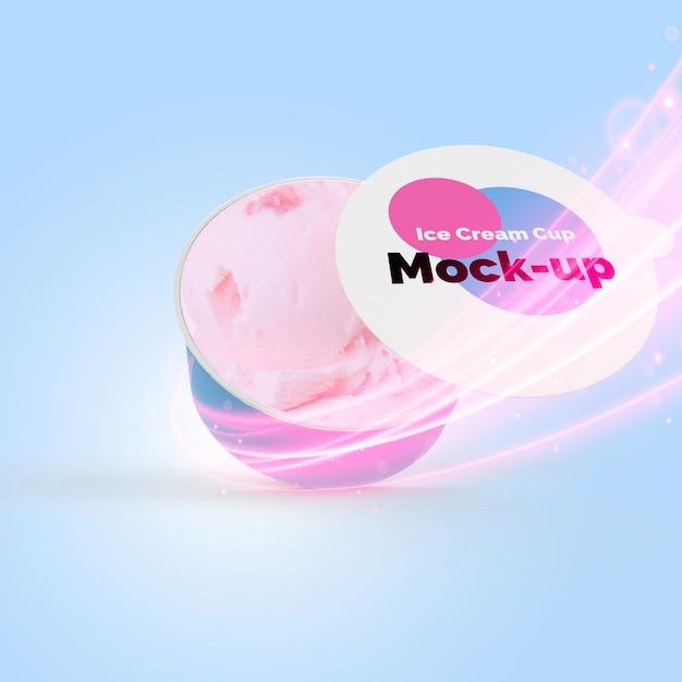 Mock-up pubblicitario della coppa gelato