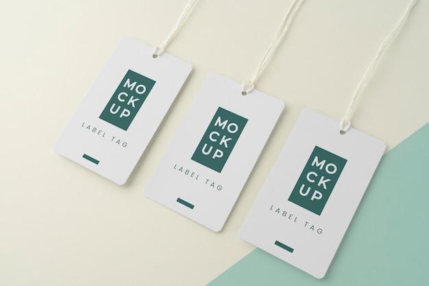 Mock-up samenstelling van papieren tags