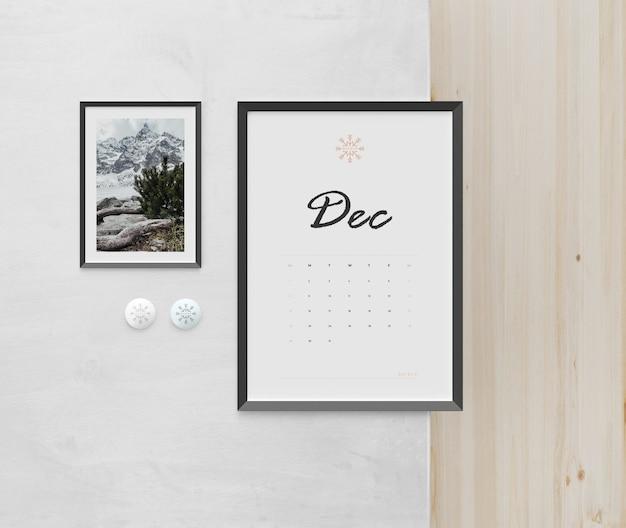 Mock-up schilderij frame gebruikt voor kalender