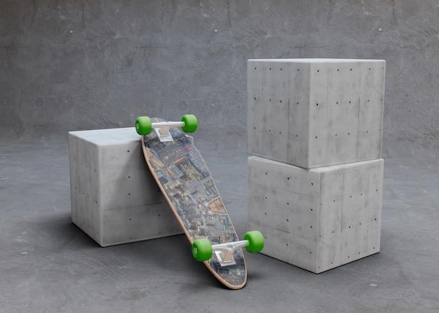 Mock-up skateboard ondersteboven liggend op kubus