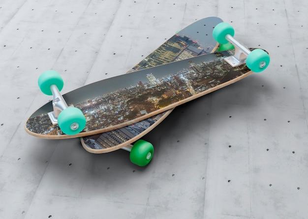 Mock-up skateboard sopra l'altro