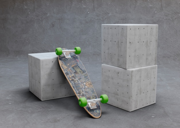 Mock-up skateboard sottosopra posa sul cubo