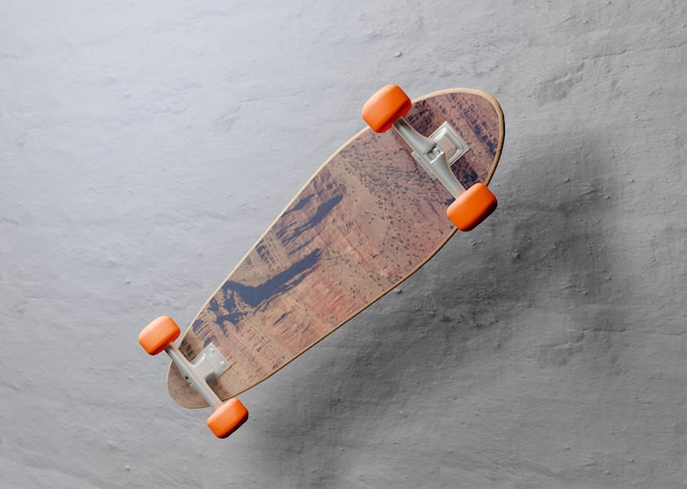 Mock-up skateboard zwevend in de lucht