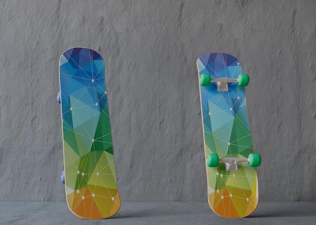 Mock-up skateboards met laag poly-ontwerp