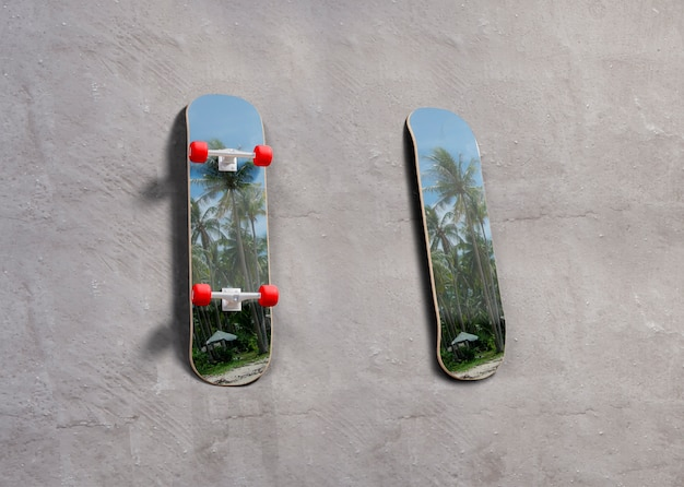 Mock-up skateboards met tropisch design